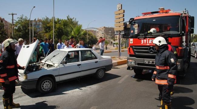 Abide'de seyir halindeki araç alev aldı