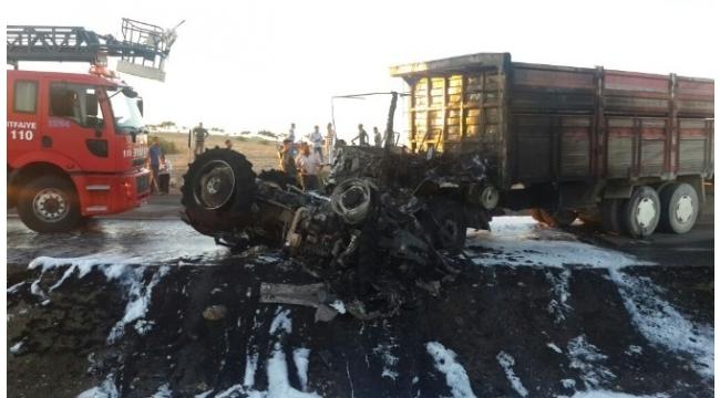Kamyon tarım işçilerini taşıyan traktöre çarptı: 1 ölü