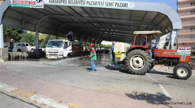 Karaköprü'de kurban kesim yerlerinde temizlik