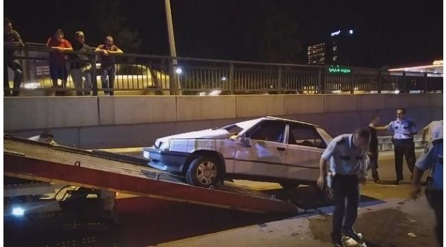 Kontrolden çıkan araba takla attı