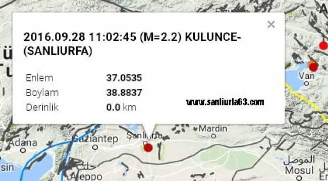 Şanlıurfa'da 2.2 şiddetinde deprem