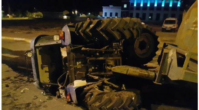 Sulama traktörü devrildi: 1 yaralı