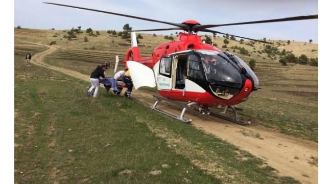 Ambulans helikopter vurulan çoban için havalandı