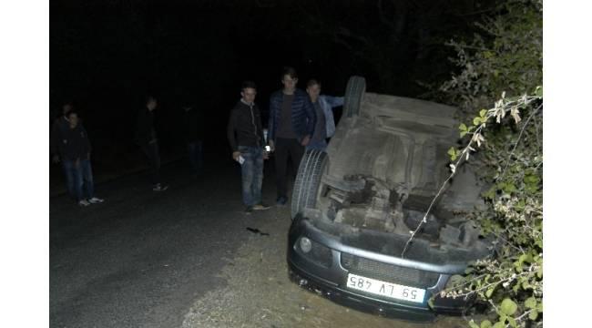 Karı koca takla atan araçtan sağ çıktı