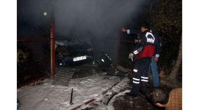 Safranbolu'da garaj yangını