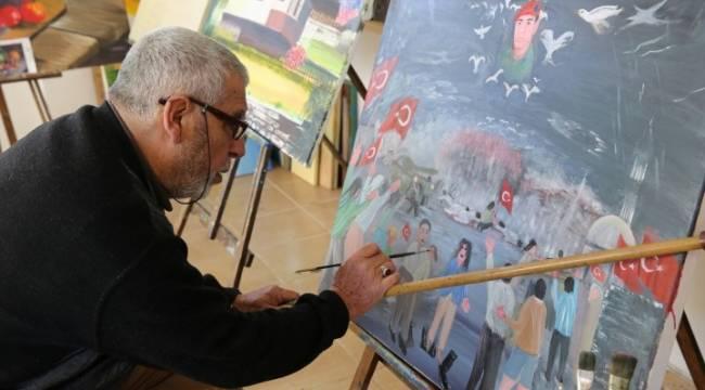 70'lik ressam darbe girişimini resmetti