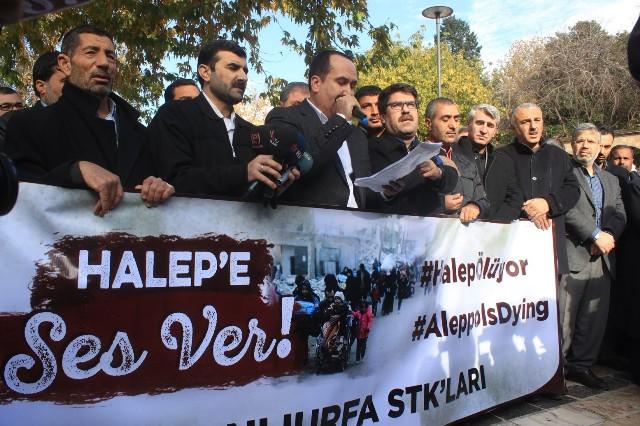 Urfalılar Halep'teki olaylara dikkat çekti