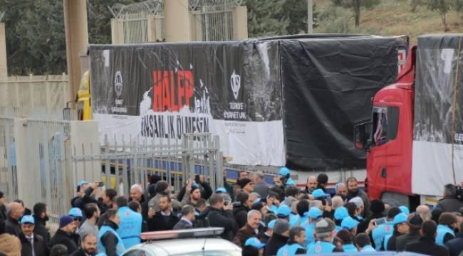 Yardım tırları dualar eşliğinde Halep'e yolcu edildi