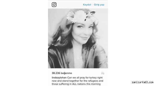 Hollywood yıldızı Lindsay Lohan takipçilerinden Türkiye için dua istedi