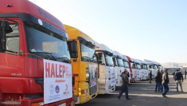 Şanlıurfa'dan Halep'e 25 Tır yardım gönderildi