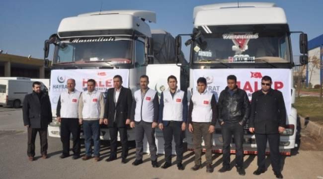 Şanlıurfa'dan Halep'e bin 152 yardım tırı