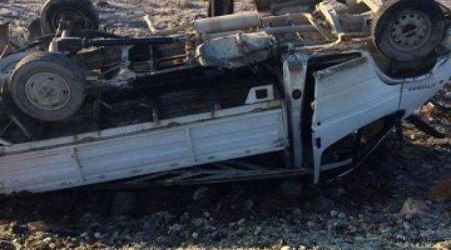 Takla atan kamyonetin sürücüsü yaralandı