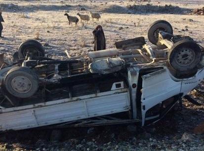 Urfa'da kamyonet takla attı