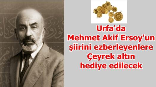 Urfa'da bu şiiri eksiksiz ezberleyenlere altın hediye edilecek