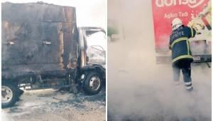 Urfa'da kamyonet alev alev yandı