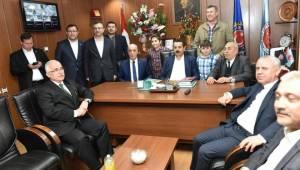Bakan Çelik ve TÜRK-İş Genel Başkanından Düzme'ye tebrik ziyareti