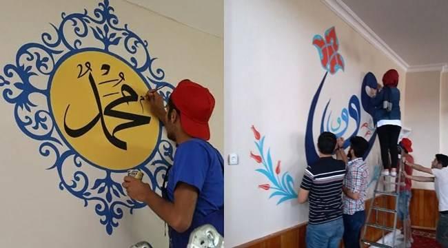 Öğrenciler Eyyübiye'deki camileri süslüyor