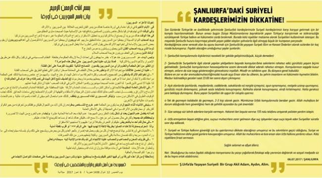 Şanlıurfa'daki Suriyelilere Önemli Uyarılar