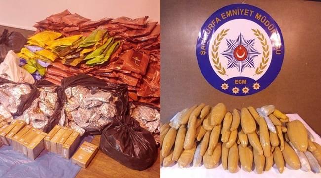 Urfa'da 30 kilo esrar, 413 kilo nargile tütünü yakalandı