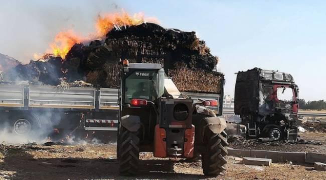 Viranşehir'de saman yüklü tır yandı