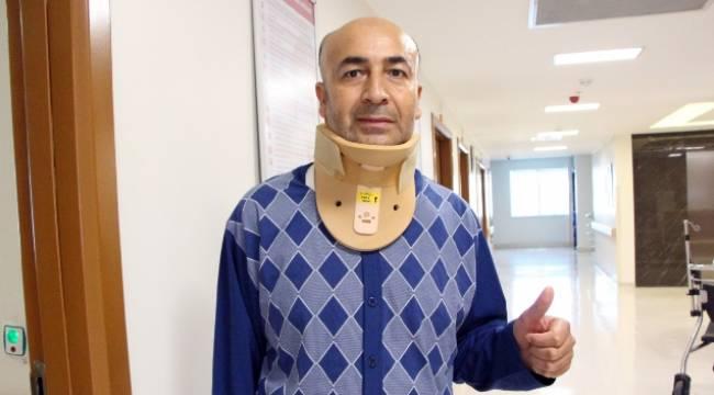 Boynu kırılan ambulans şoförü sakat kalmaktan kurtarıldı