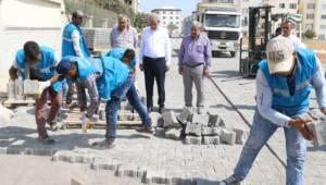 Köylü Kent'te kilitli beton parke çalışması-Videolu Haber