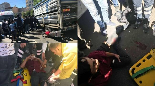 Motosiklet pikaba çarptı, 2 yaralı