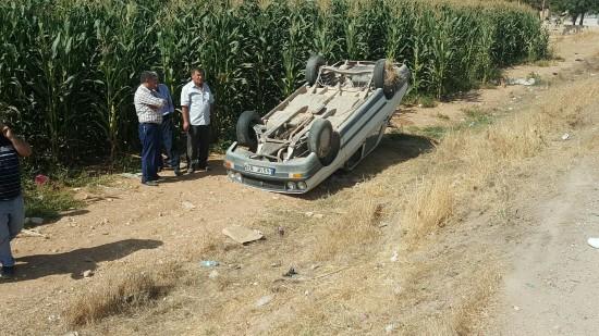 Suruç'ta otomobil takla attı