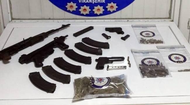 Bağ evine silah ve uyuşturucu operasyonu