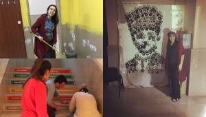 Öğretmenler boya yapıp tuvaletleri temizliyor