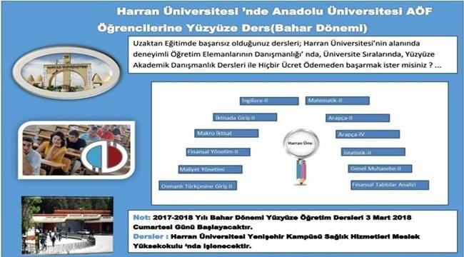 Harran Üniversitesinde AÖF Yüz Yüze Eğitiim Veriliyor