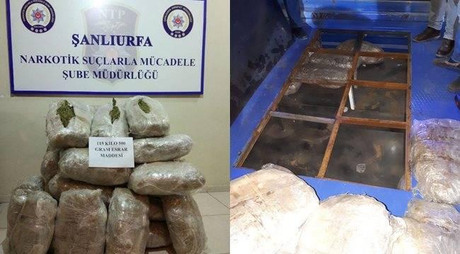 Kamyonette 115 kilo esrar ele geçirildi