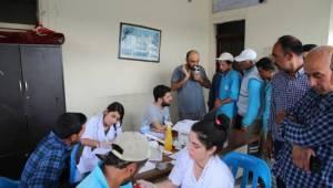 İşçilere önce sağlık taraması ardından ilk yardım eğitimi