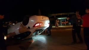 Polisten kaçıp takla atan otomobilden uyuşturucu çıktı