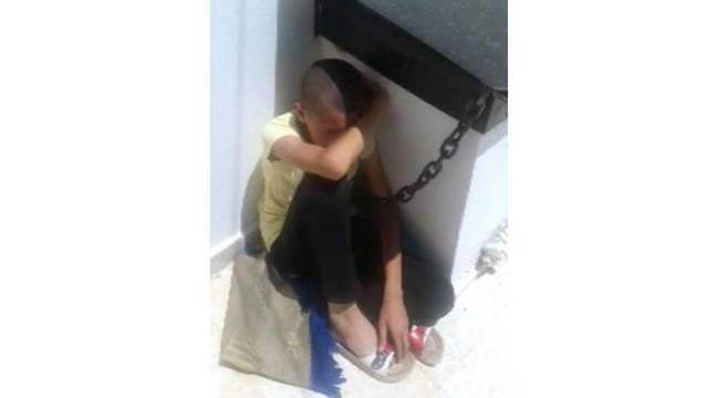 Çocuğunu zincirle boynundan bağlayan baba serbest bırakıldı