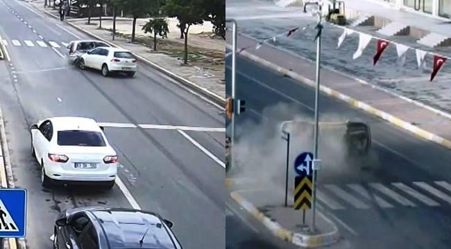 Karaköprü'deki İki Kaza Kameralara Yansıdı