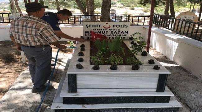 Tut Polisi Şehit Mezarlarına Bakım Yaptı