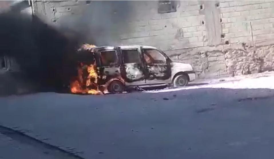 Park halindeki aracı ateşe verdiler