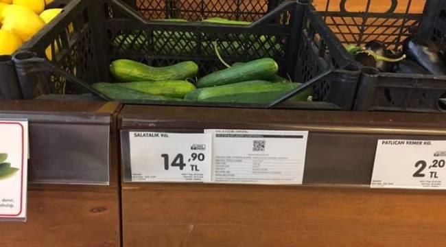 Salatalık'ın Fiyatın Duyan Zabıtalar Markete Baskın Yaptı
