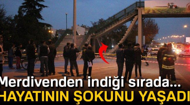 Konya'da üst geçit merdiveni çöktü 1 yaralı