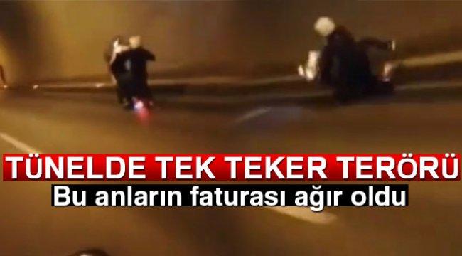 Tek teker giden motosikletlinin kaza yaptığı anlar kamerada