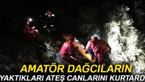 Amatör dağcılar yaktıkları ateş sayesinde kurtarıldılar