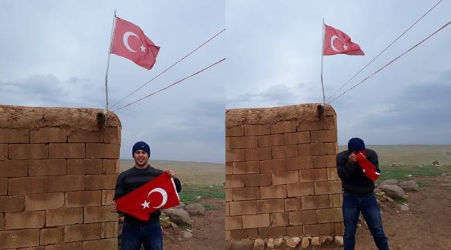 Engelli Genç Kirlenen Türk Bayrağını Yerine Astı