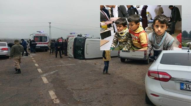 Öğrenci Servisi Devrildi 8 Öğrenci Yaralı