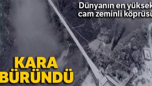 Dünyanın en yüksek cam zeminli köprüsü kara büründü