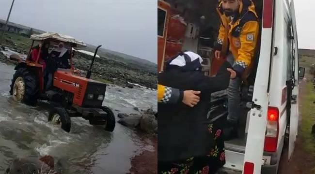 Hamile Kadın Traktör ile Ambulansa Yetiştirildi