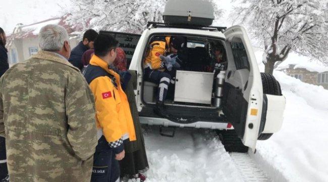 Paletli Ambulans Kar Nedeniyle Hastaya Güçlükle Ulaştı