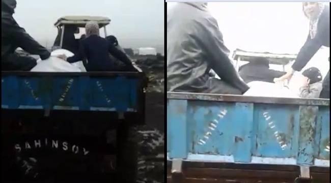 Yol Olmadığından Cenaze Mezarlığa Traktörle Götürüldü