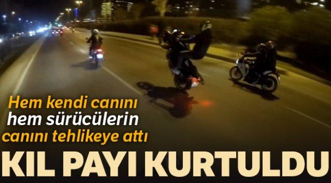 İstanbul'da motosikletli magandanın tek teker kazası kamerada
