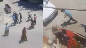 Kadın erkek demeden eline sopayı alan kavgaya tutuştu